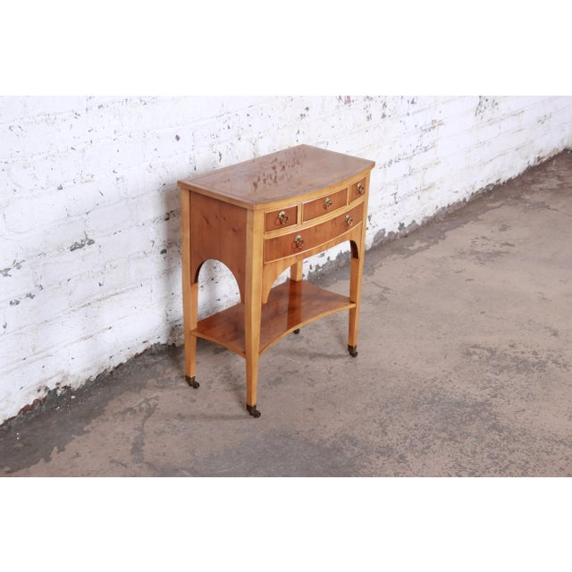 Baker Furniture Company Baker Furniture Neoclassical Burl Wood Entry Table For Sale - Image 4 of 13