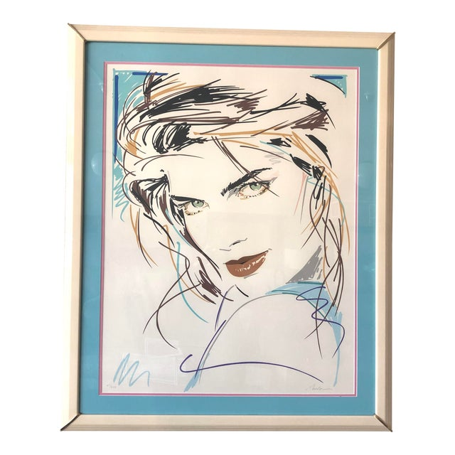 """""""Victoria/Green Eyes"""" Postmodern Portrait Serigraph Limited Edition by Dennis Mukai, Framed For Sale"""