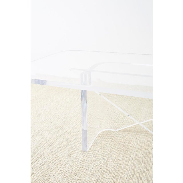 Monumental Italian Moderne Sculptural Lucite Dining Table For Sale - Image 4 of 13
