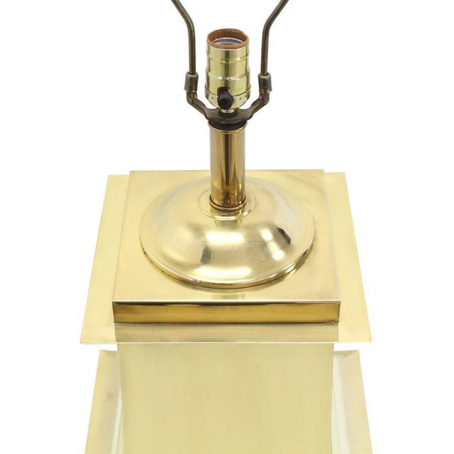 Early 20th Century Mid-Century Modern Brass Beads Shade & Brass Base Table Lamps -A Pair For Sale - Image 5 of 8