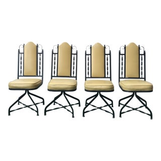 1970s Vintage Spanish Revival Iron Swivel Chairs- Set of 4 For Sale