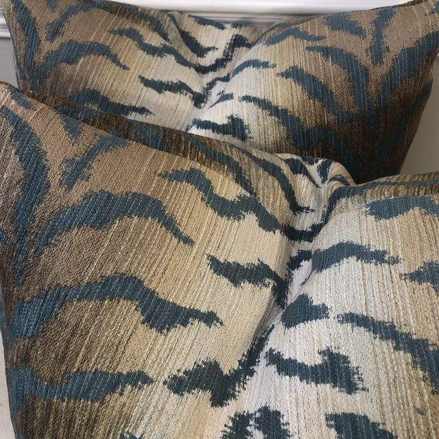 """Traditional Jade Tiger Chenille 22"""" Pillows-A Pair For Sale - Image 3 of 7"""