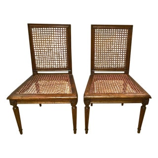 French Louis XVI Style Walnut Chauffeuses - Pair