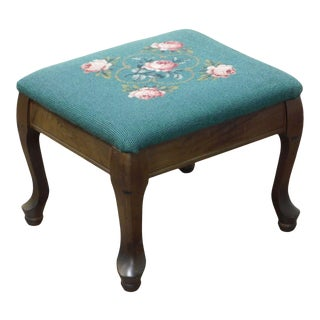 Vintage Needlepoint Small Footstool For Sale