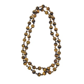 """42"""" Tiger's Eye Bead Necklace For Sale"""