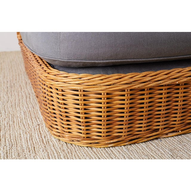 Gray Michael Taylor Style Wicker Chaise Lounge For Sale - Image 8 of 13