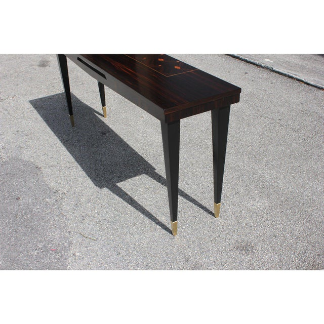 French Art Deco Exotic Macassar Ebony Console Table, Circa 1940s For Sale - Image 9 of 13
