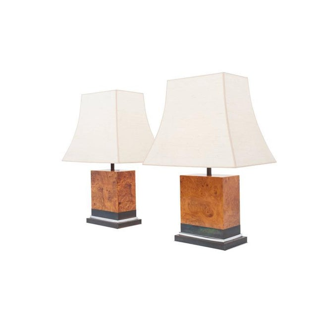 Mid-Century Modern Pair of Burl Lamps by Jean Claude Mahey For Sale - Image 3 of 9