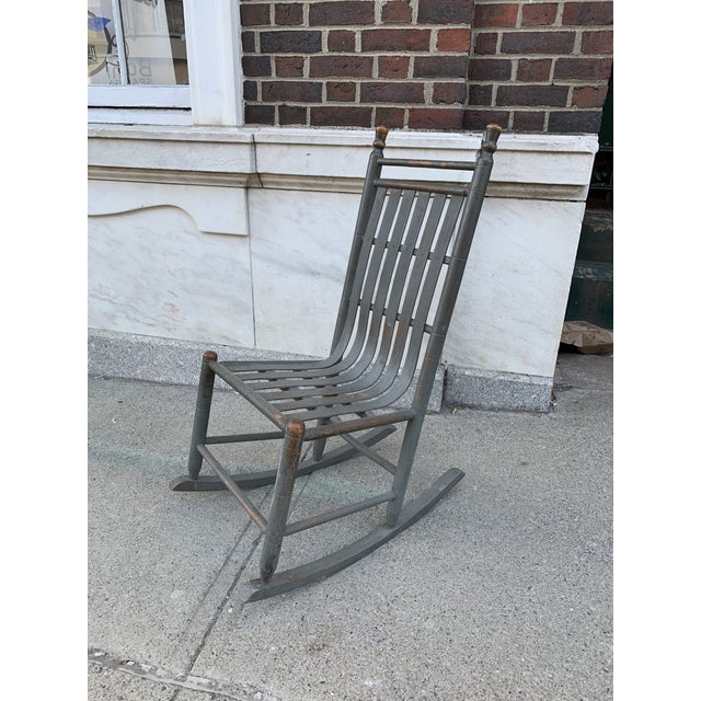 A wonderful late 19 th century bentwood rocker in the most beautiful original grey paint, with warm patina and very...