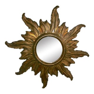 1950 French Gilded Wood Sunburst Mirror