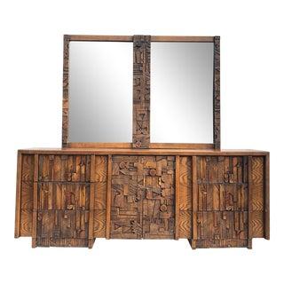 Brutalist Modern Bedroom Dresser by Lane For Sale
