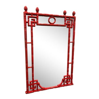 Red Chinese Chippendale Style Mirror For Sale