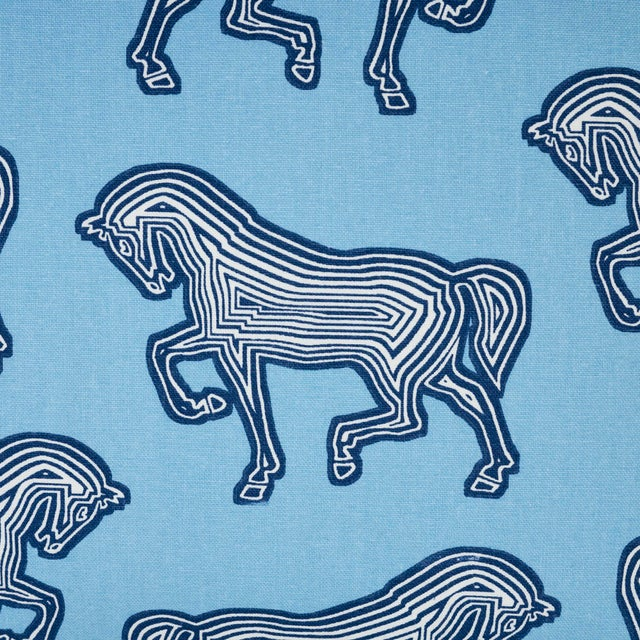 Contemporary Schumacher Faubourg Lumbar Pillow in Blue For Sale - Image 3 of 5