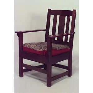 Americana American Mission oak arm chair with triple slat design back and tapestry seat For Sale - Image 3 of 3