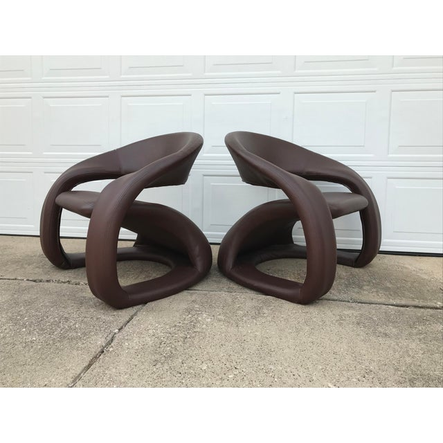 Brown 1990s Vintage Jaymar Memphis Sculptural Cantilever Lounge Chairs - a Pair For Sale - Image 8 of 9