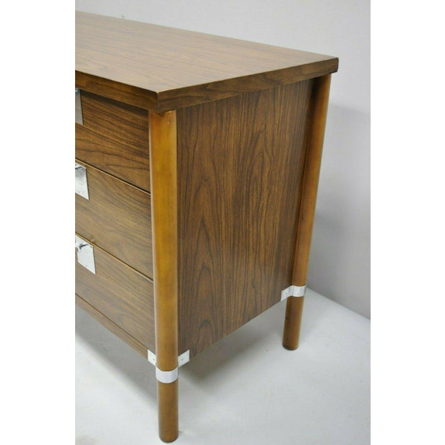 Chrome Vintage Mid Century Modern Walnut & Chrome 9 Drawer Credenza Dresser With Mirror For Sale - Image 7 of 12