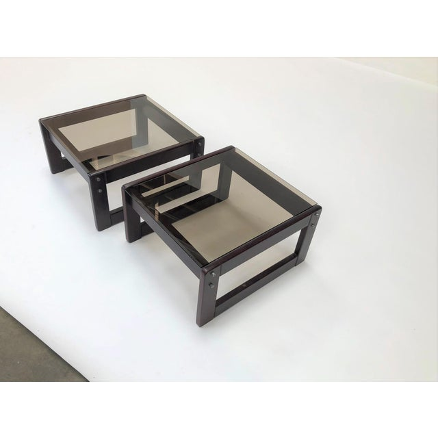 1960s Mid-Century Modern Percival Laver Rosewood and Glass Side Tables - a Pair For Sale - Image 9 of 13