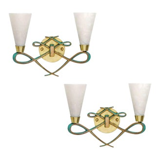 Bronze Sconce With Alabaster Shades in a Jules Leleu Style, Pair For Sale
