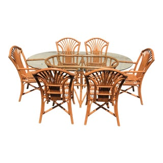 Bamboo & Rattan Dining Set - Set of 7