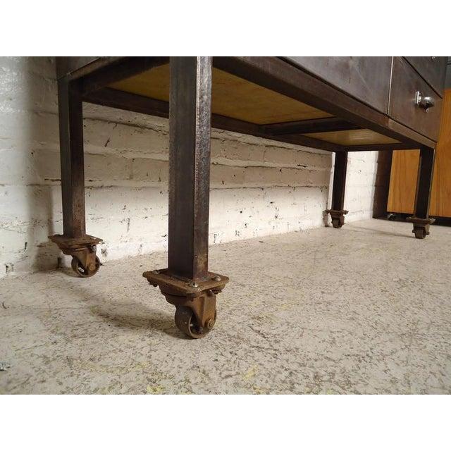 Metal Industrial Ten-Drawer Metal Cabinet For Sale - Image 7 of 9