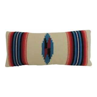 Vintage Petite Southwestern Woven Wool Decorative Lumbar Pillow For Sale