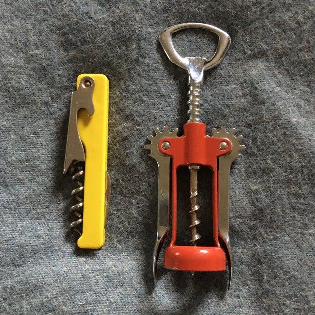Red Vintage Italian Corkscrews in Red and Yellow - a Pair For Sale - Image 8 of 9