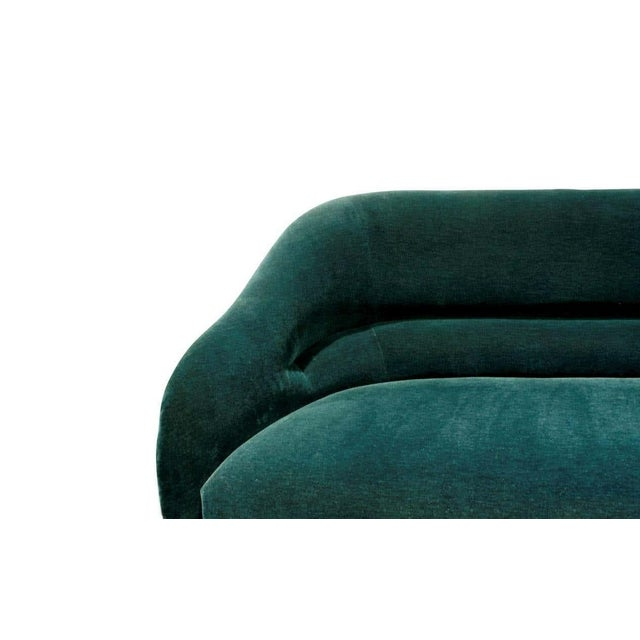 Clean lined sofa, designed by Ward Bennett for Brickel Associates sofa model no. 2092 with back pleat Professionally...
