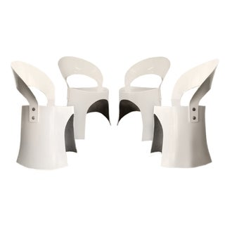 Last Call Nanna Ditzel White Fiberglass Chairs (1969) - Set of 4