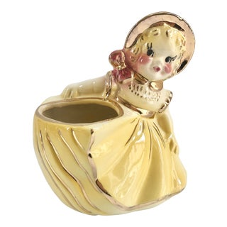 1950s 24k Gold Girl Vase Planter For Sale