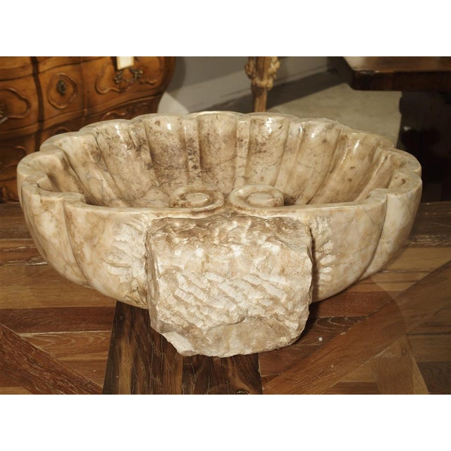 White Carved Italian Breccia Marble Shell Form Sink For Sale - Image 8 of 12