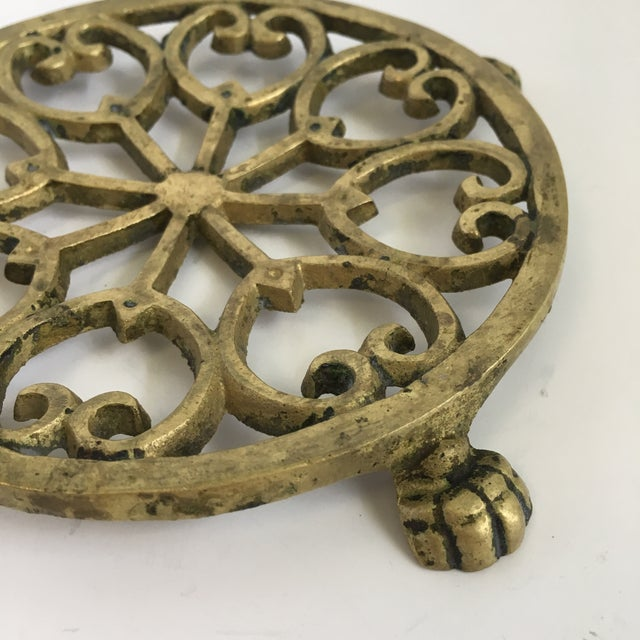 Asian Vintage Brass Claw Foot Trivet For Sale - Image 3 of 6