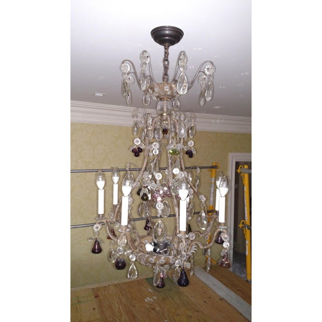 Mid 19th Century 1840s Antique Iron Baguès French Cut Glass Dangles Chandelier For Sale - Image 5 of 13