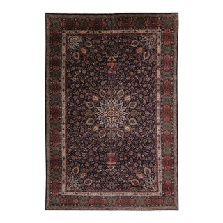 Vintage Persian Tabriz Rug with Traditional Style, Persian Gallery Rug