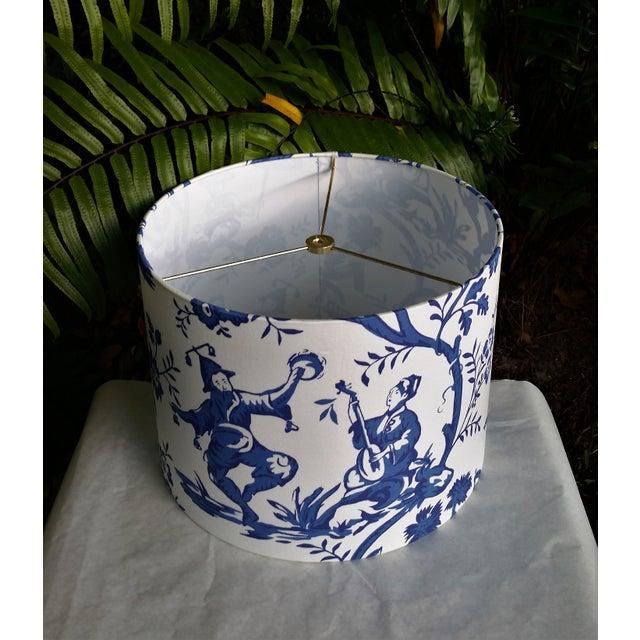 Asian Cobalt Blue White Cotton Duralee Suri Fabric Drum Lampshade For Sale - Image 3 of 11