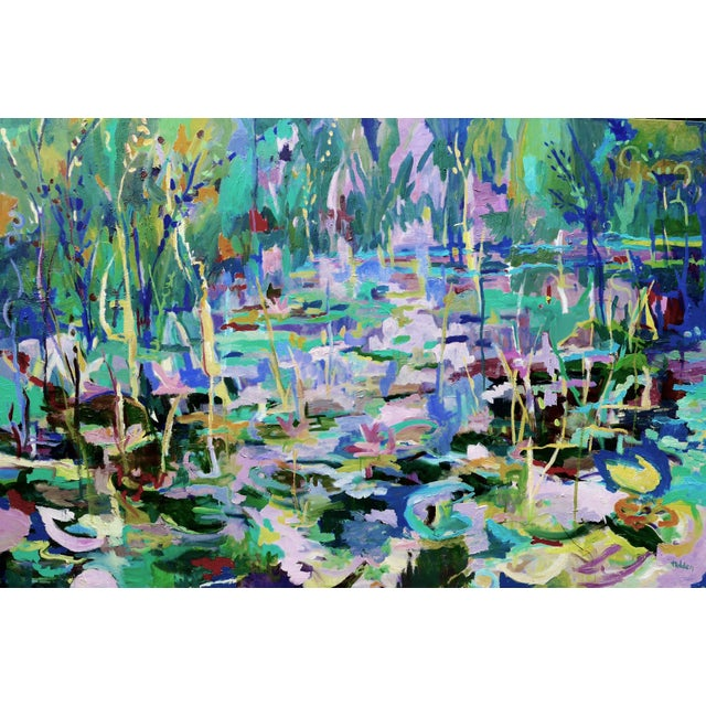 Absolutely stunning plein air highly textured oil painting of the gorgeous lily ponds near the home of Claude Monet. This...