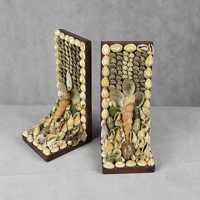 White Shell Encrusted Bookends - a Pair For Sale - Image 8 of 9