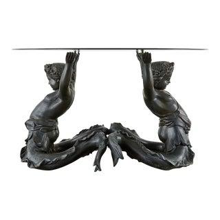 Italian Bronze Neoclassical Putti Di Mare Dining Centre Table For Sale
