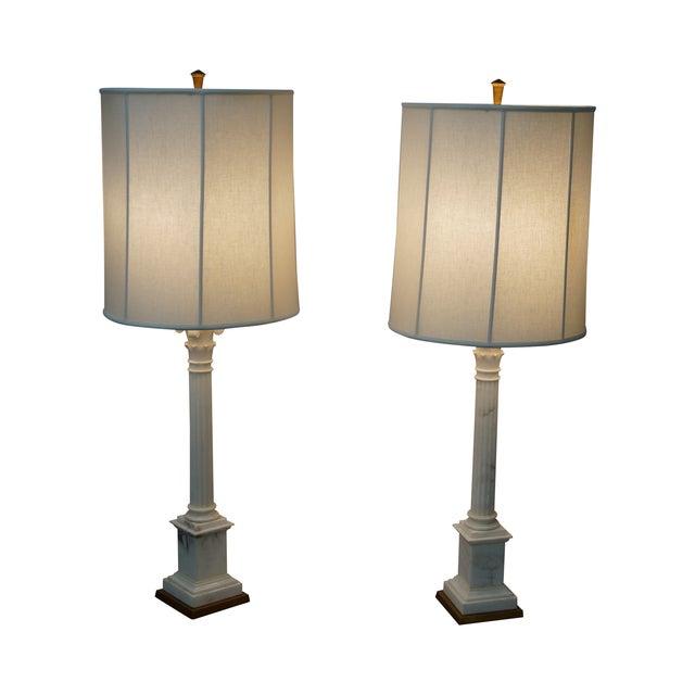 Carrara Marble Corinthian Column Lamps - Pair For Sale