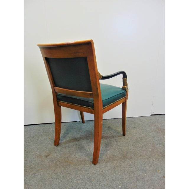 Mid 20th Century French Empire Dolphin Carved Leather Chair For Sale - Image 5 of 7