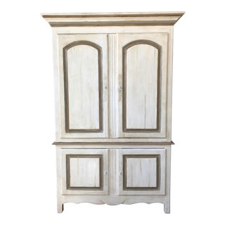 Country Style White Wooden Armoire For Sale