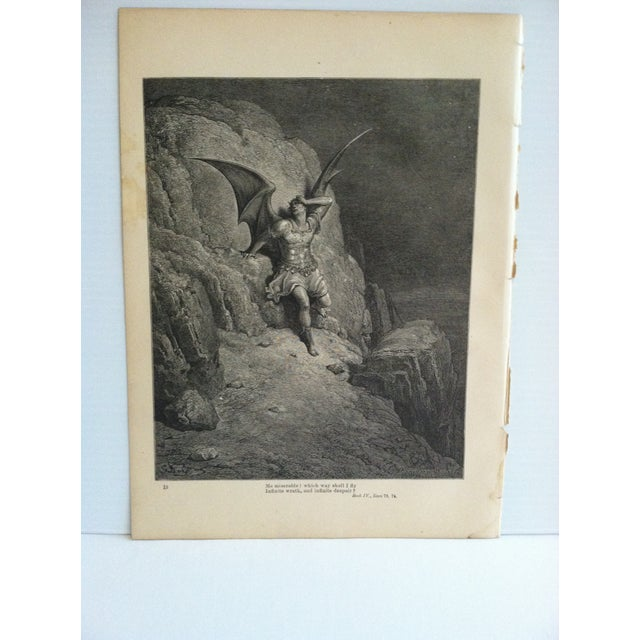 """This is an antique Paradise Lost print on paper that is titled """"Which Way Should I Fly"""". The print is in good condition..."""