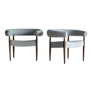 Pair of Nanna Ditzel Ring Chairs in Walnut and Wool for Getama, Denmark For Sale