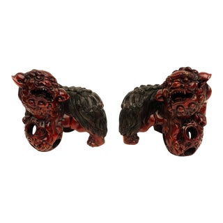 Antique Chinese Large Handcarved Pair of Solid Wood Foo Dog Figurines | Male & Female Shishi Protection Statues For Sale