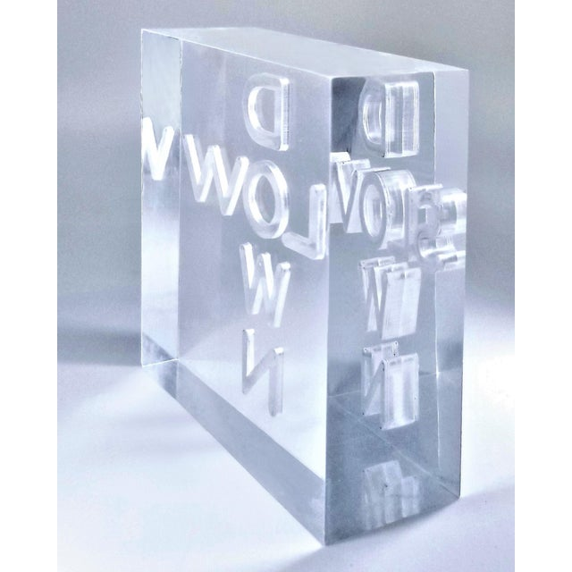 """Plastic Pop Art 1960s Lucite Sculpture With Engraved """"Slow Down"""" Text For Sale - Image 7 of 13"""