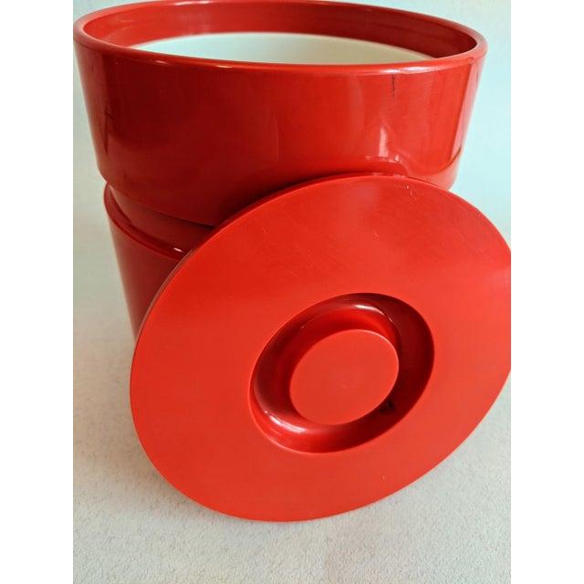 Vintage 70's era mid-century modern retro style bright orange melamine plastic ice bucket designed by Sergio Asti for...