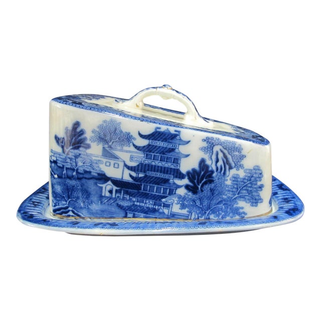 Antique Broseley Chinese Flow Blue & White Pattern Serving Dish With Lid For Sale