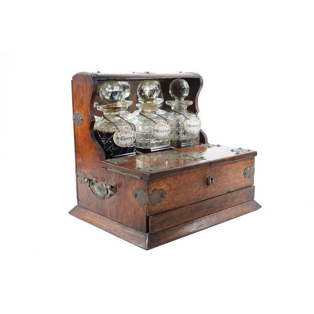 19th C Antique Captain Oak Tantalus & 3 Decanters - Image 5 of 9