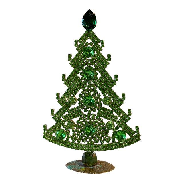Emerald Green Czech Rhinestone Christmas Tree For Sale