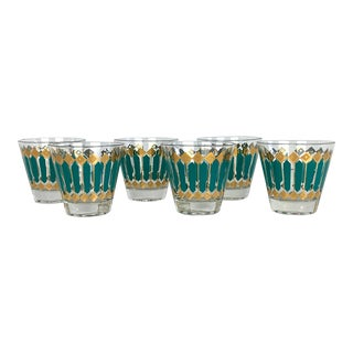 Fred Press Mid-Century 22-Karat Gold Teal Blue Cocktail Rocks Glasses- Set of 6 For Sale