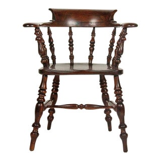 Matched Pair of Regency Yewwood and Elm Captains Chairs